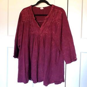Penningtons Red acid wash Tunic Size 2X